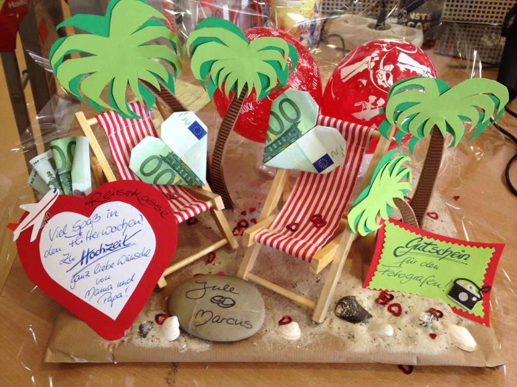 """Geldgeschenk """"Palmenstrand"""" für Hochzeit, Geburtstage usw. ab 20€ Dekokosten, individuell anfertigbar"""