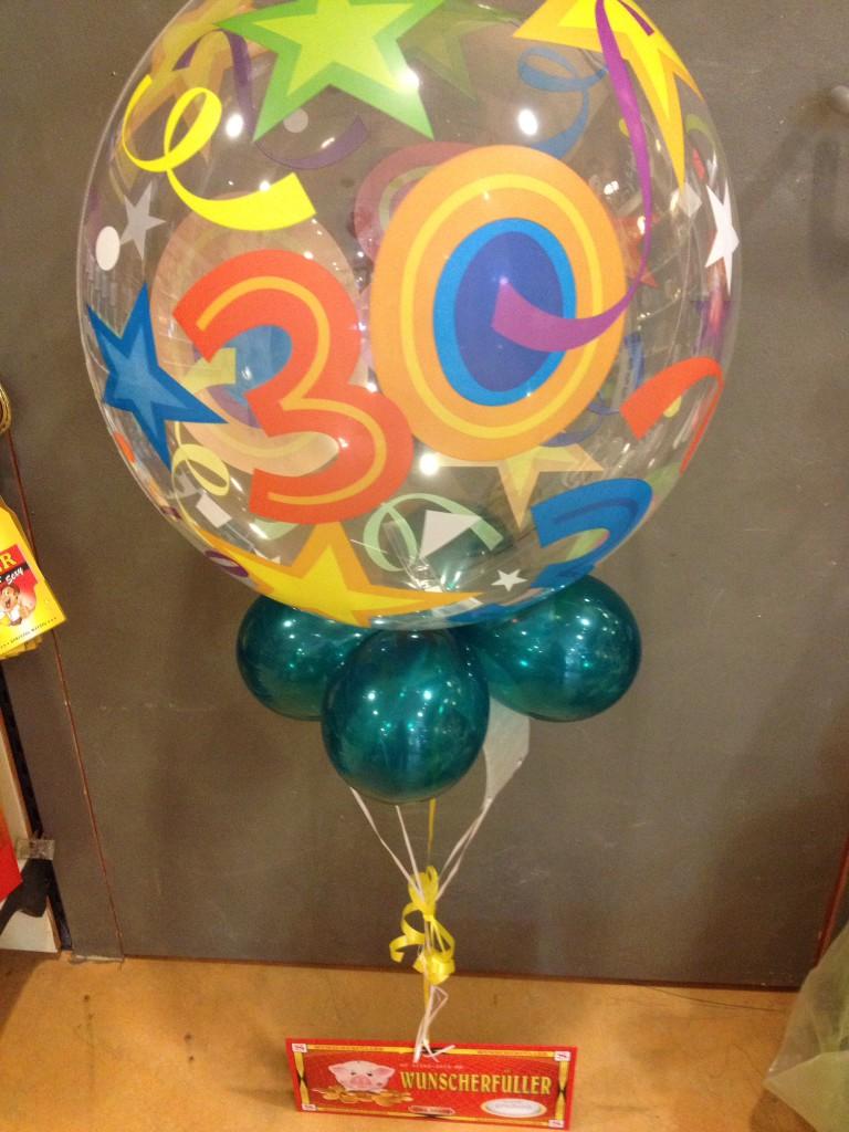 Bubble-Ballon zum 30.Geburtstag Stück 15€