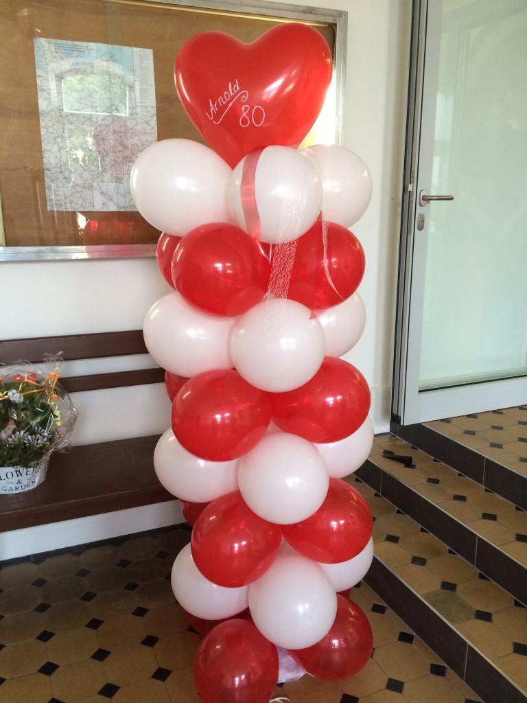 Ballon- Standsäule rot/weiß zur Hochzeit, 1,80m hoch ab 39€