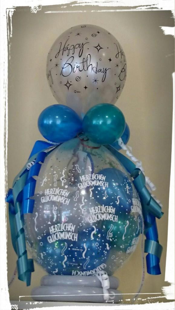 """Ballonverpackung """"Herzlichen Glückwunsch"""" Blautöne ab 15€"""